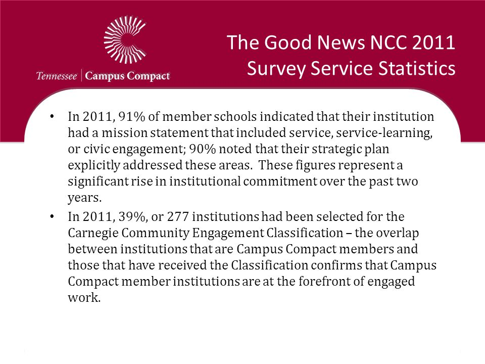 The Good News NCC 2011 Survey Service Statistics In 2011, 91% of member schools indicated that their institution had a mission statement that included service, service-learning, or civic engagement; 90% noted that their strategic plan explicitly addressed these areas.
