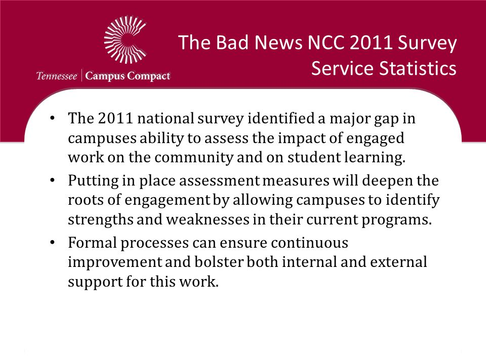 The Bad News NCC 2011 Survey Service Statistics The 2011 national survey identified a major gap in campuses ability to assess the impact of engaged work on the community and on student learning.