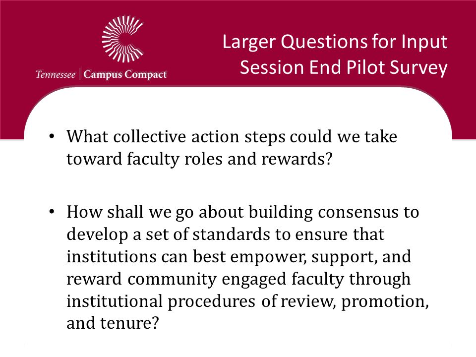 Larger Questions for Input Session End Pilot Survey What collective action steps could we take toward faculty roles and rewards? How shall we go about