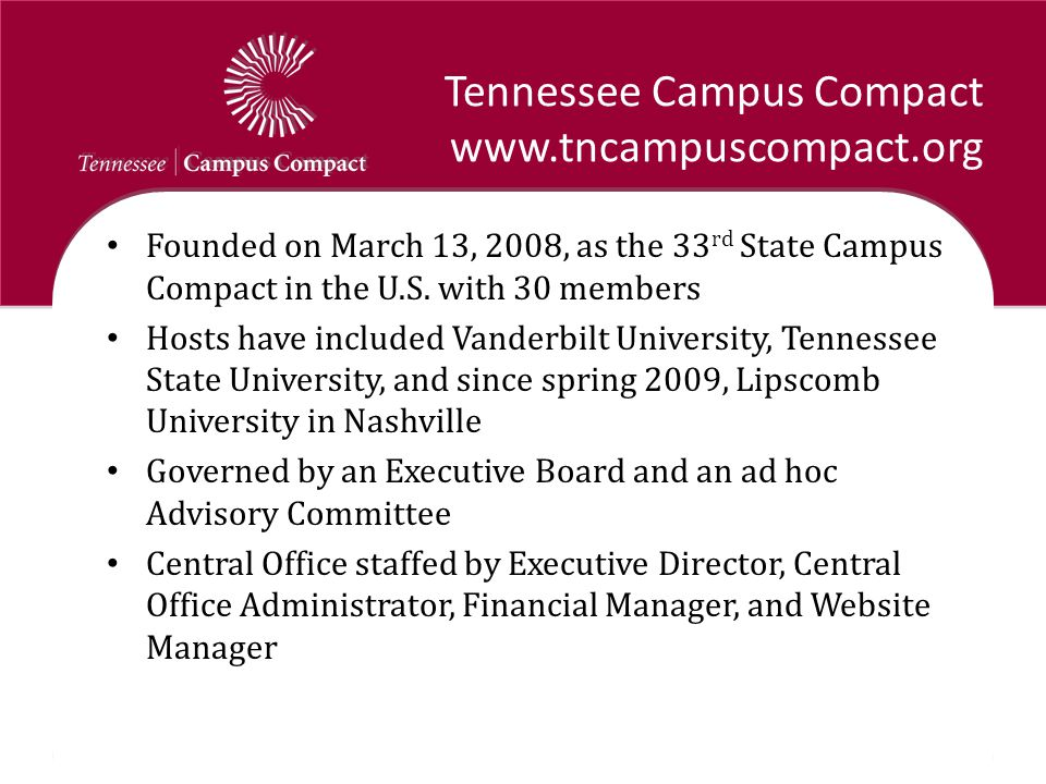 Tennessee Campus Compact www.tncampuscompact.org Founded on March 13, 2008, as the 33 rd State Campus Compact in the U.S.
