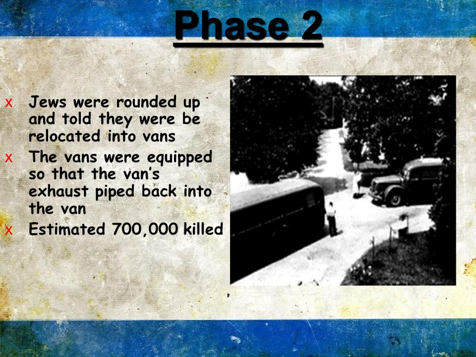 xJews rounded up and taken into the woods and shot one by one xTheir bodies buried in mass grave Phase 1