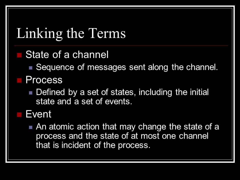 Linking the Terms State of a channel Sequence of messages sent along the channel.