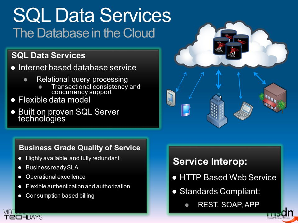 SQL Data Services The Database in the Cloud