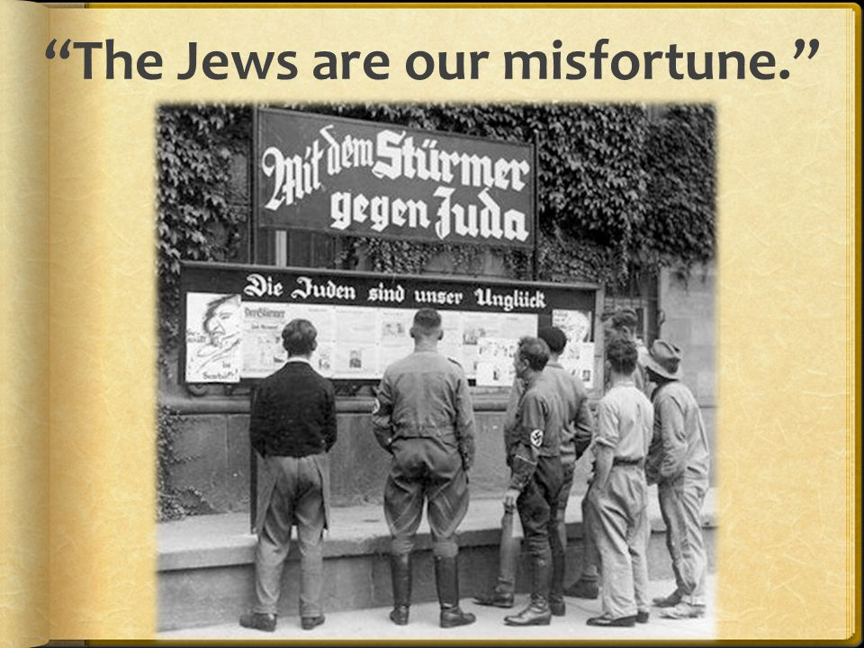 1935 Nuremburg Laws  Stripped Jews of their German citizenship  Stripped of jobs and property  Banned marriage between Jews and non- Jews  Had to wear the Star of David  Yellow badge