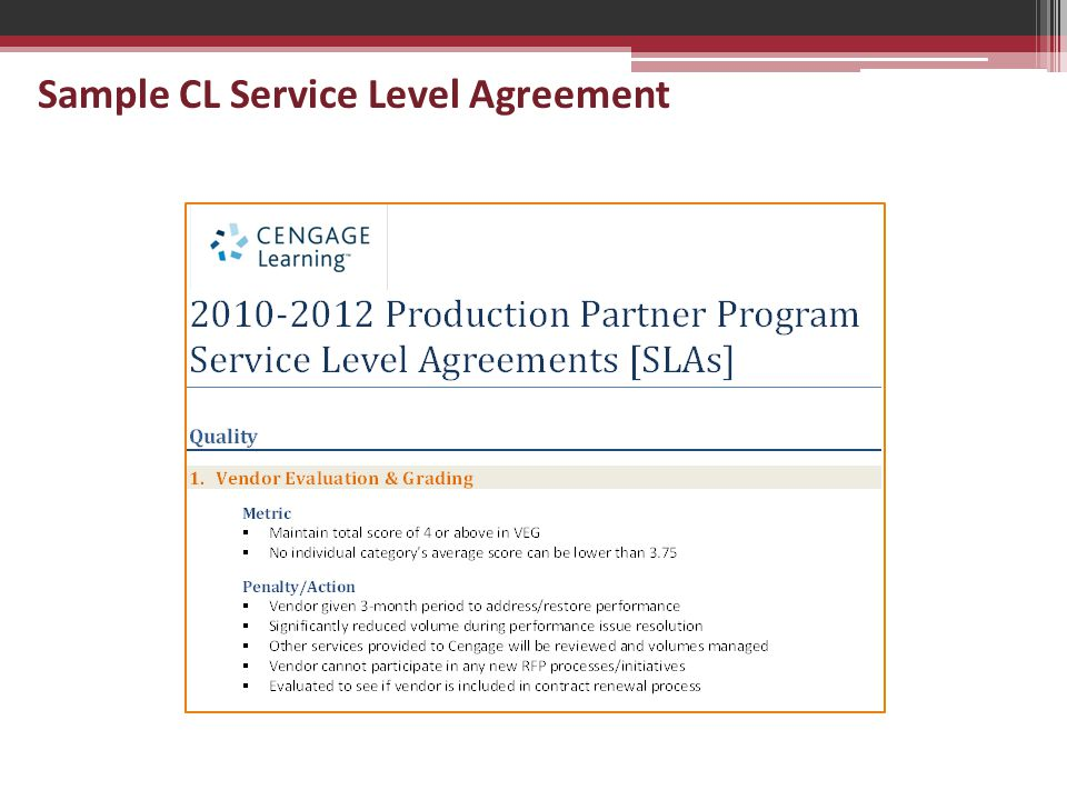 Sample CL Service Level Agreement