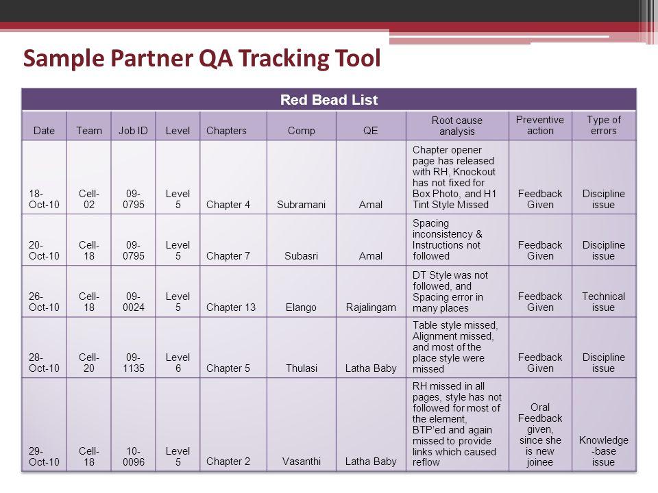 Sample Partner QA Tracking Tool