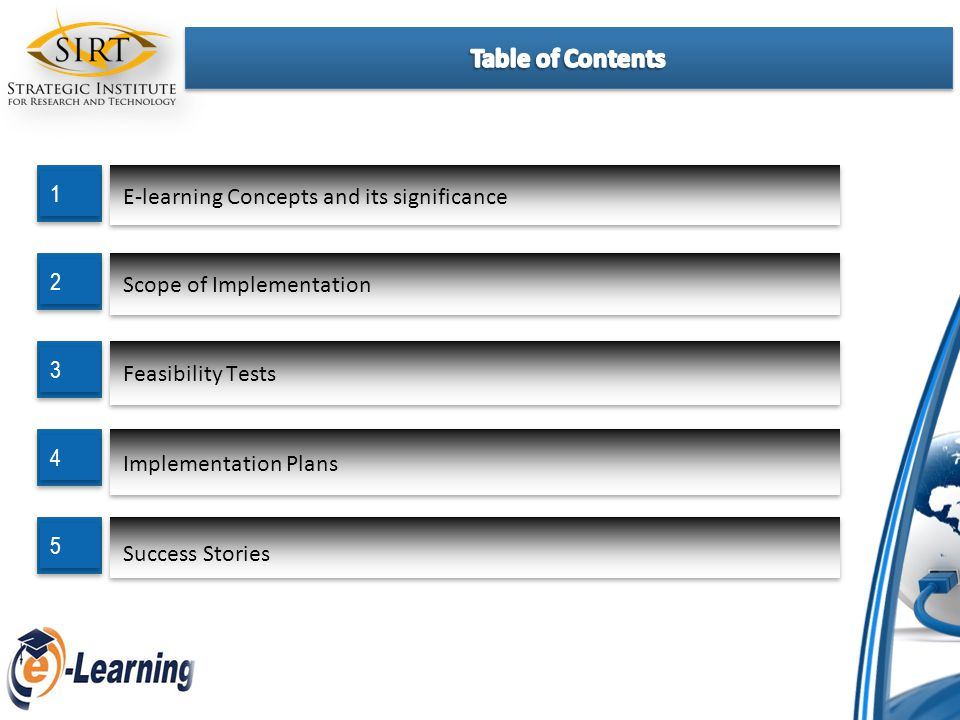 E-learning Concepts and its significance 1 1 Scope of Implementation 2 2 Feasibility Tests 3 3 Implementation Plans 4 4 Success Stories 5 5