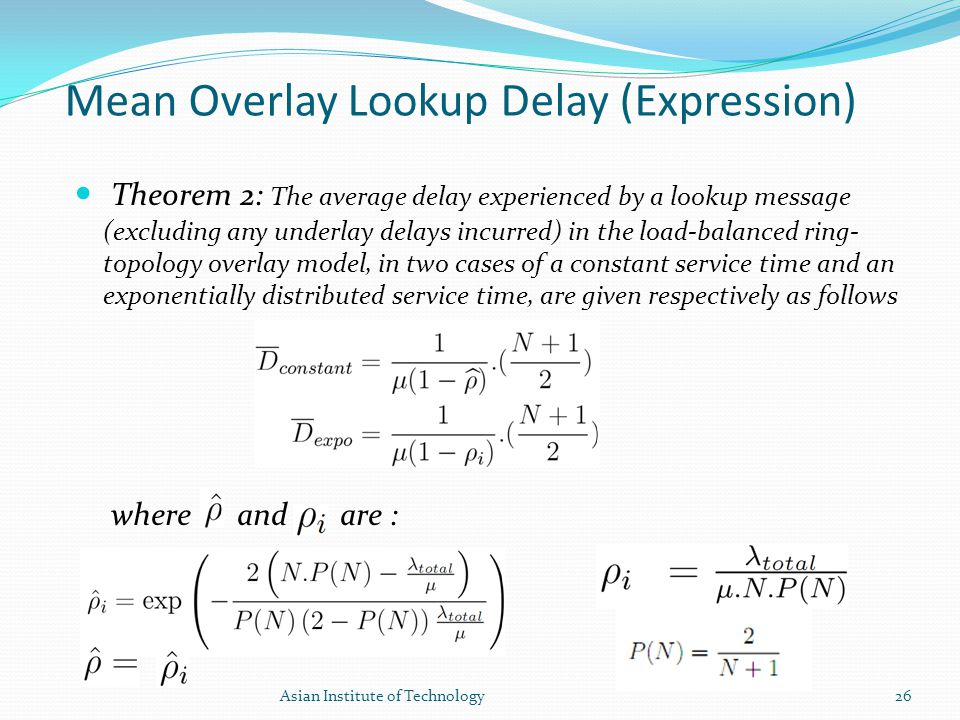 Mean Overlay Lookup Delay (Expression) Theorem 2: The average delay experienced by a lookup message (excluding any underlay delays incurred) in the lo