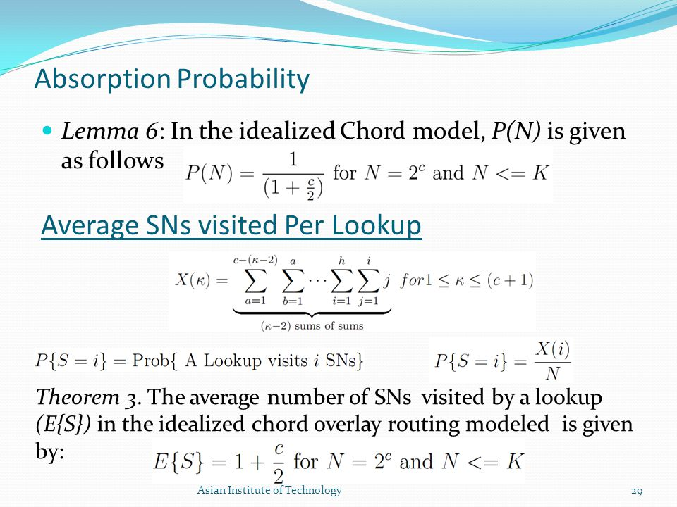 Absorption Probability Lemma 6: In the idealized Chord model, P(N) is given as follows Average SNs visited Per Lookup Theorem 3. The average number of