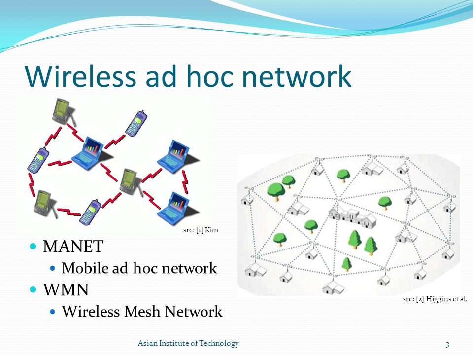 Wireless ad hoc network MANET Mobile ad hoc network WMN Wireless Mesh Network 3Asian Institute of Technology src: [1] Kim src: [2] Higgins et al.