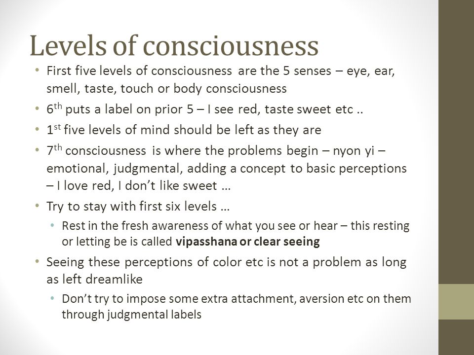 Levels of consciousness First five levels of consciousness are the 5 senses – eye, ear, smell, taste, touch or body consciousness 6 th puts a label on prior 5 – I see red, taste sweet etc..
