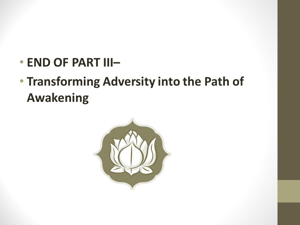 END OF PART III– Transforming Adversity into the Path of Awakening