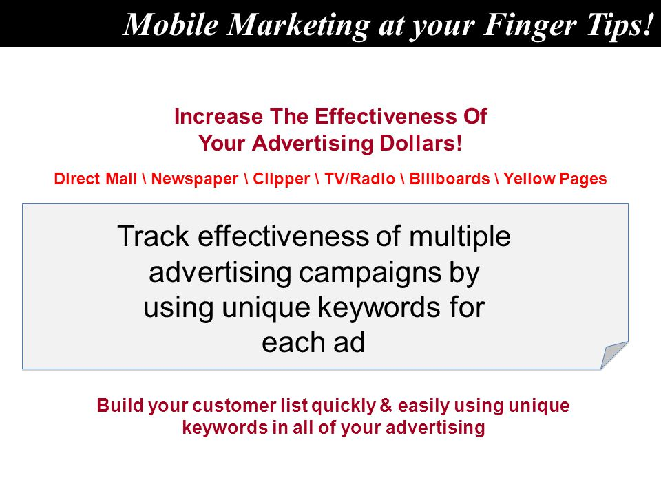 Increase The Effectiveness Of Your Advertising Dollars.