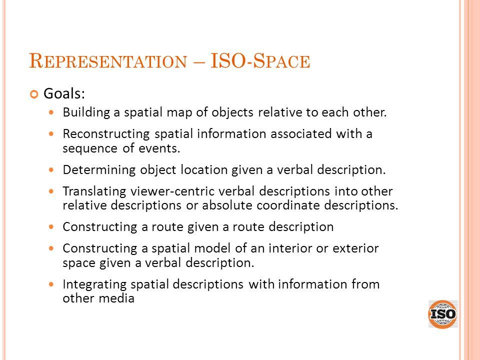 R EPRESENTATION – ISO-S PACE Goals: Building a spatial map of objects relative to each other.