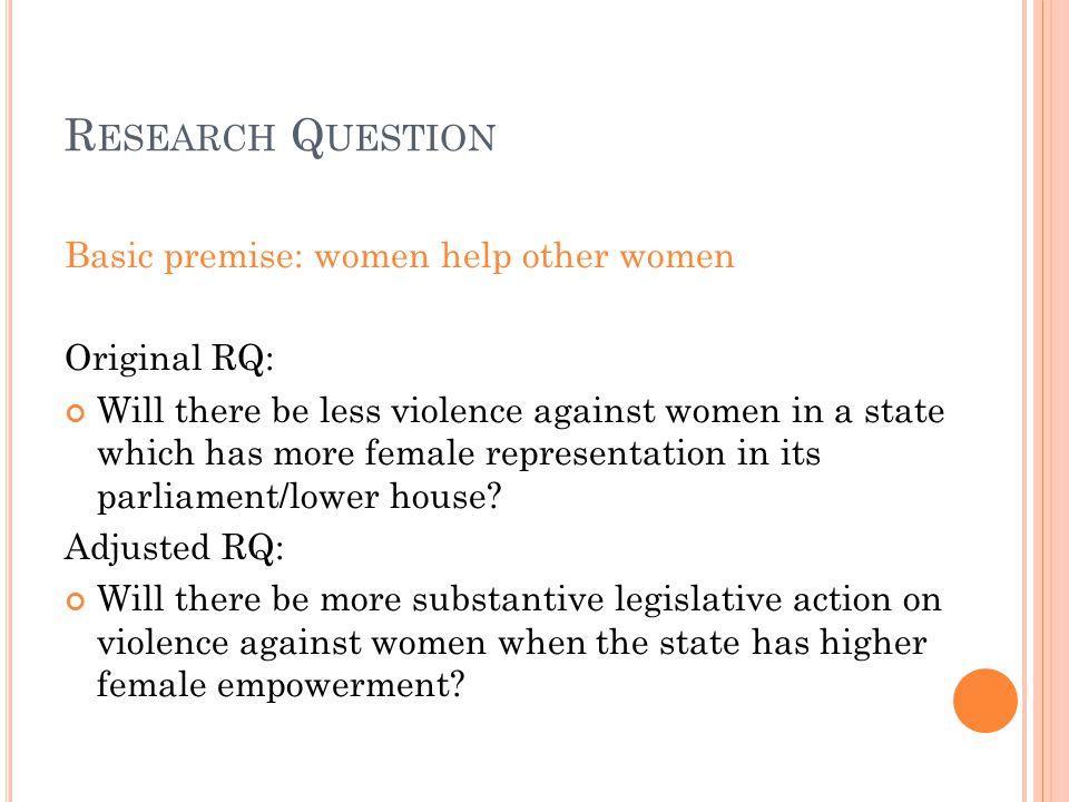 L INEAR R EGRESSION A NALYSIS Independent Variables Model 1Model 2Model 3 Legislation on violence against women (LegislationVAW) Coef: -.2404038 Sig: 0.005 Coef: -.2048335 Sig: 0.002 Coef: -.1431523 Sig: 0.024 Percentage of women in lower house of parliament (Women2008) Coef:.0085186 Sig: 0.000 Coef:.008253 Sig: 0.000 Gender development index (GDI2005) Coef:.4438792 Sig: 0.000 Observations:50 46 R-squared0.121490.54770.7244  Using dependent variable gender empowerment measure (gem2005)