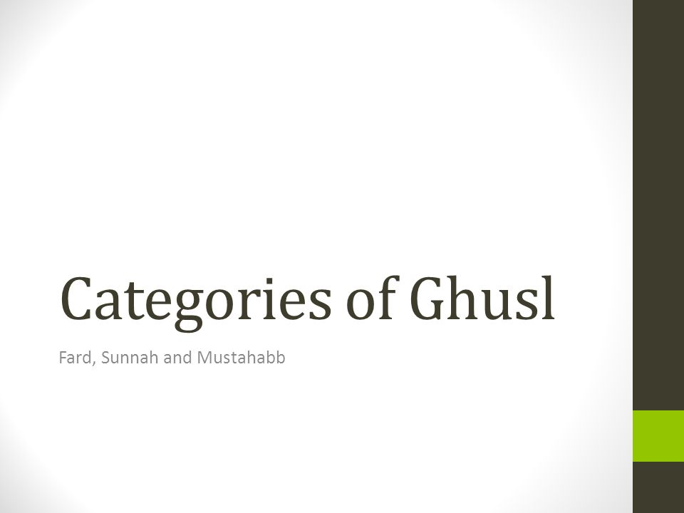 Categories of Ghusl Fard, Sunnah and Mustahabb