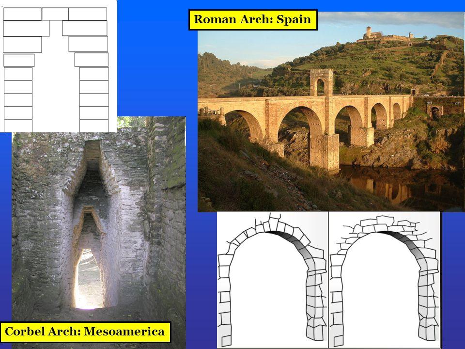 Roman Arch: Spain Corbel Arch: Mesoamerica