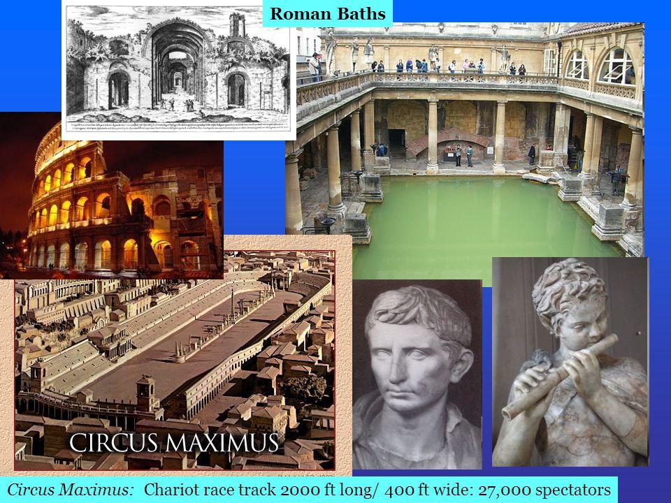 Circus Maximus: Chariot race track 2000 ft long/ 400 ft wide: 27,000 spectators Roman Baths