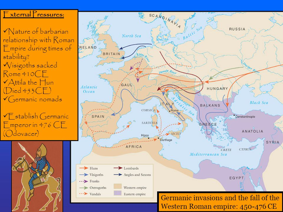 Germanic invasions and the fall of the Western Roman empire: 450-476 CE External Pressures: Nature of barbarian relationship with Roman Empire during times of stability.