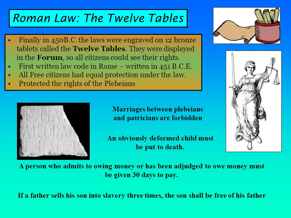 Finally in 450B.C.the laws were engraved on 12 bronze tablets called the Twelve Tables.
