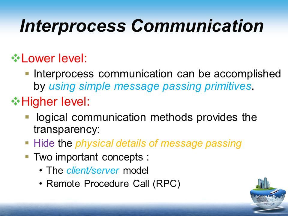 Interprocess Communication  Lower level:  Interprocess communication can be accomplished by using simple message passing primitives.