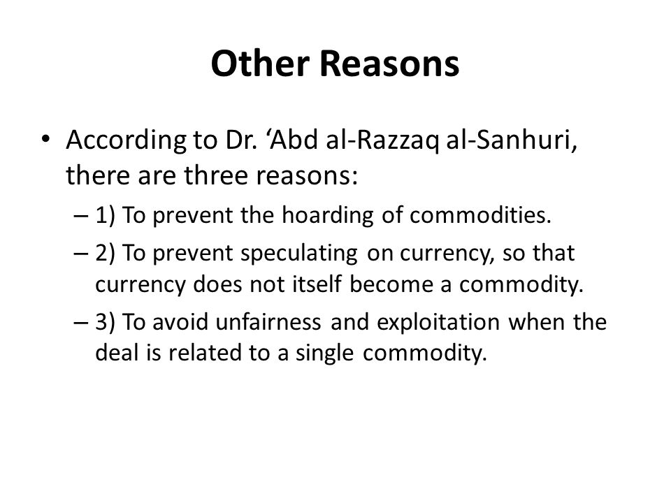 Other Reasons According to Dr.