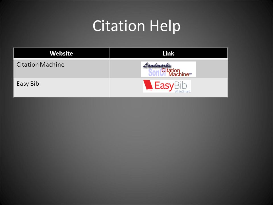 Citation Help WebsiteLink Citation Machine Easy Bib