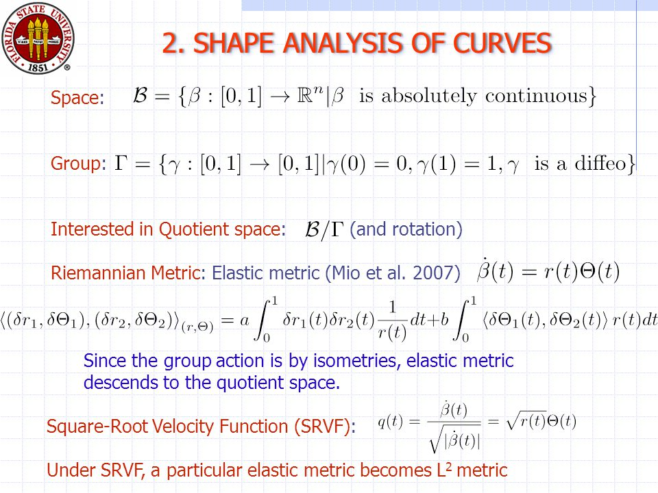 2. SHAPE ANALYSIS OF CURVES2.