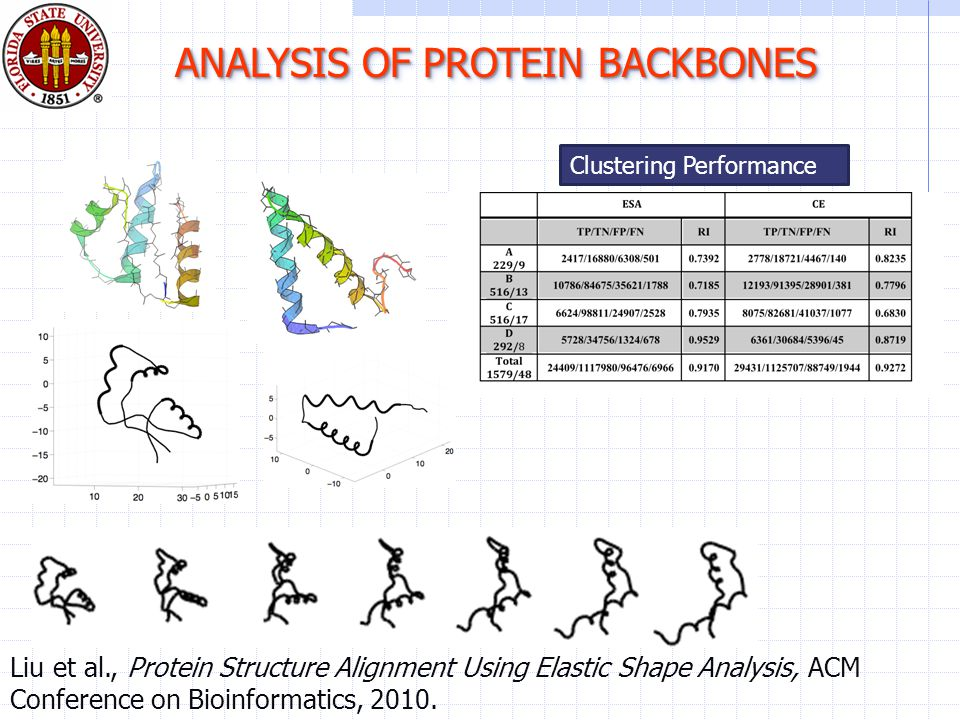 ANALYSIS OF PROTEIN BACKBONES Liu et al., Protein Structure Alignment Using Elastic Shape Analysis, ACM Conference on Bioinformatics, 2010.
