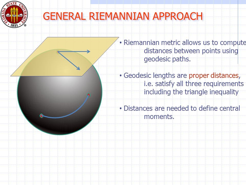 Riemannian metric allows us to compute distances between points using geodesic paths.