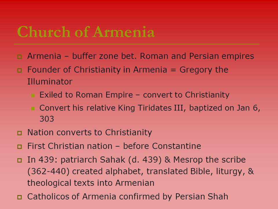 Church of Armenia  Armenia – buffer zone bet.