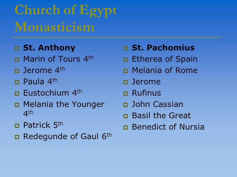 Church of Egypt Monasticism  St.