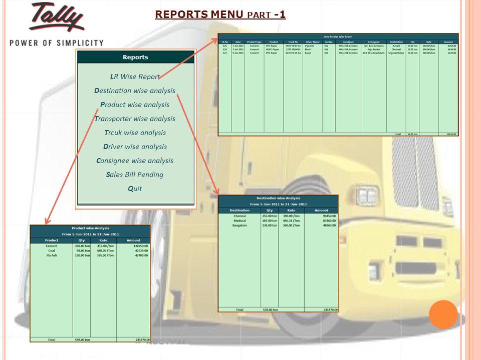 REPORTS MENU PART -1
