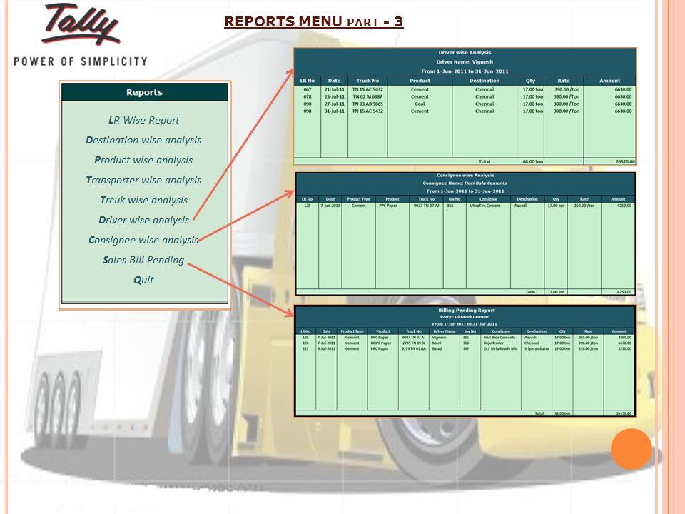 REPORTS MENU PART - 3