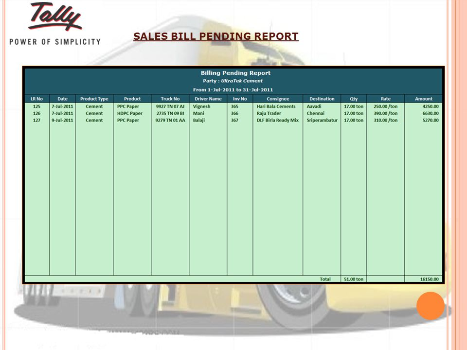 SALES BILL PENDING REPORT