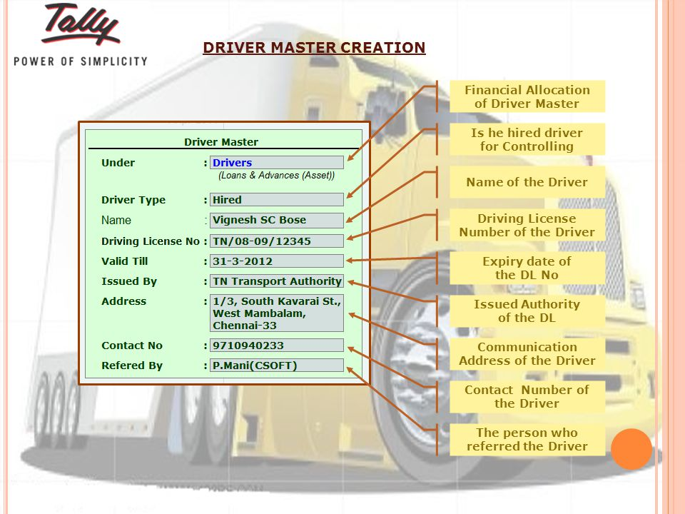 Financial Allocation of Driver Master Is he hired driver for Controlling Name of the Driver Driving License Number of the Driver Expiry date of the DL No Issued Authority of the DL Communication Address of the Driver Contact Number of the Driver The person who referred the Driver DRIVER MASTER CREATION