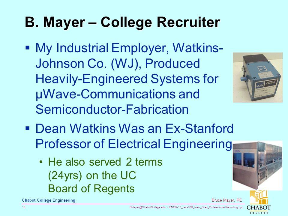 BMayer@ChabotCollege.edu ENGR-10_Lec-03B_New_Grad_Professional-Recruiting.ppt 18 Bruce Mayer, PE Chabot College Engineering B.