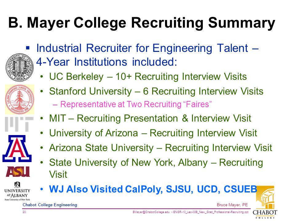 BMayer@ChabotCollege.edu ENGR-10_Lec-03B_New_Grad_Professional-Recruiting.ppt 20 Bruce Mayer, PE Chabot College Engineering B.