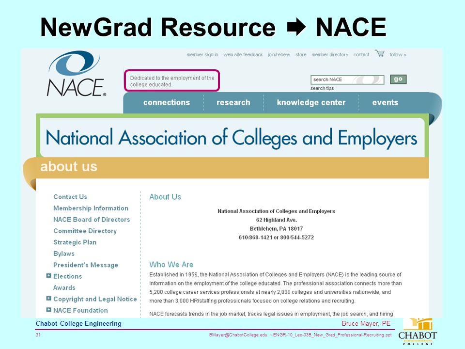 BMayer@ChabotCollege.edu ENGR-10_Lec-03B_New_Grad_Professional-Recruiting.ppt 31 Bruce Mayer, PE Chabot College Engineering NewGrad Resource  NACE