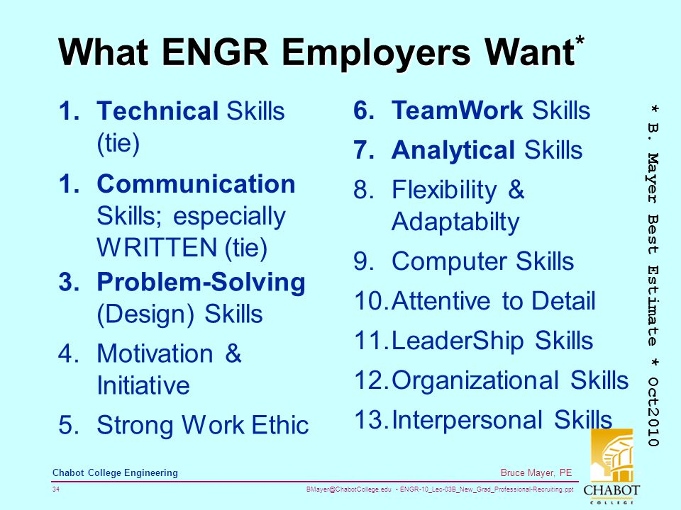 BMayer@ChabotCollege.edu ENGR-10_Lec-03B_New_Grad_Professional-Recruiting.ppt 34 Bruce Mayer, PE Chabot College Engineering What ENGR Employers Want * 1.Technical Skills (tie) * B.