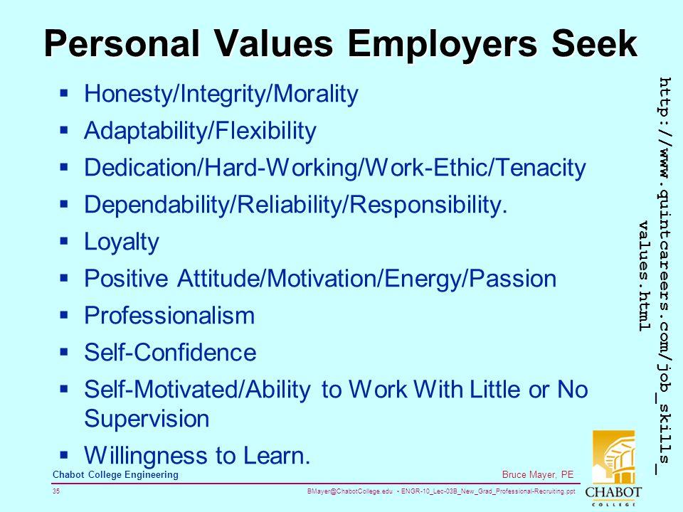 BMayer@ChabotCollege.edu ENGR-10_Lec-03B_New_Grad_Professional-Recruiting.ppt 35 Bruce Mayer, PE Chabot College Engineering Personal Values Employers Seek  Honesty/Integrity/Morality  Adaptability/Flexibility  Dedication/Hard-Working/Work-Ethic/Tenacity  Dependability/Reliability/Responsibility.