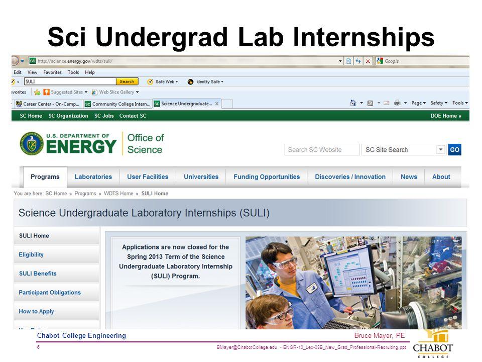 BMayer@ChabotCollege.edu ENGR-10_Lec-03B_New_Grad_Professional-Recruiting.ppt 6 Bruce Mayer, PE Chabot College Engineering Sci Undergrad Lab Internships