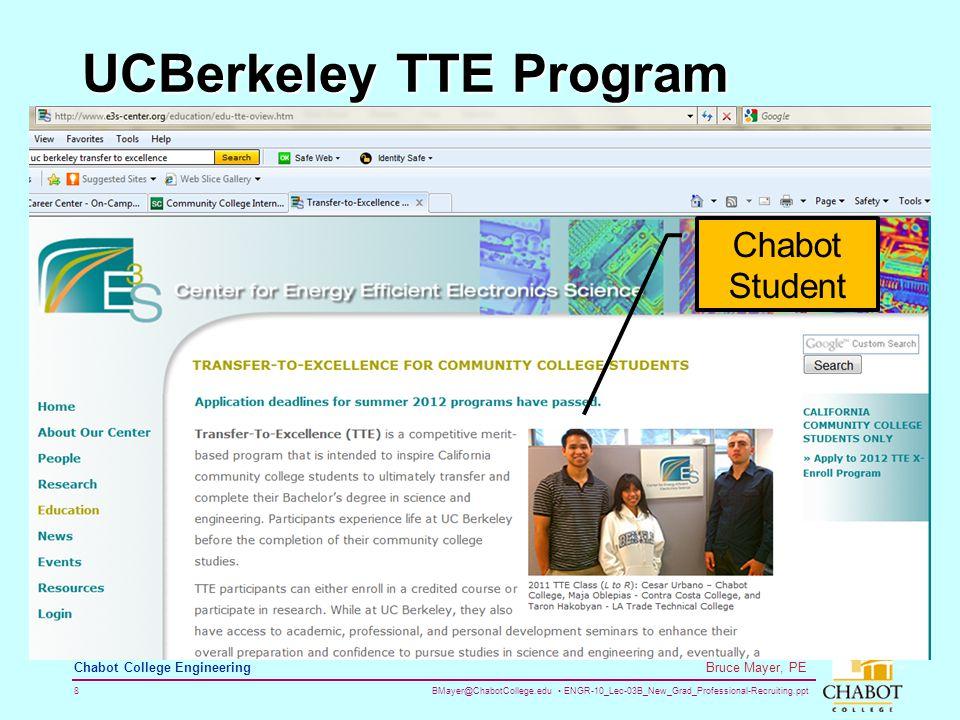 BMayer@ChabotCollege.edu ENGR-10_Lec-03B_New_Grad_Professional-Recruiting.ppt 8 Bruce Mayer, PE Chabot College Engineering UCBerkeley TTE Program Chabot Student