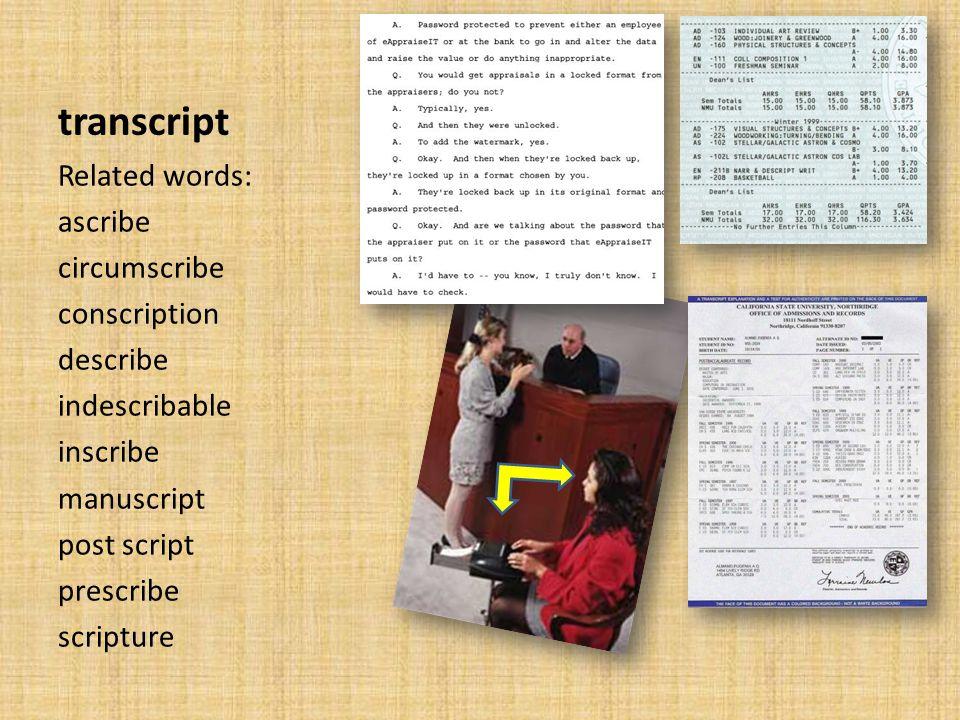 transcript Related words: ascribe circumscribe conscription describe indescribable inscribe manuscript post script prescribe scripture