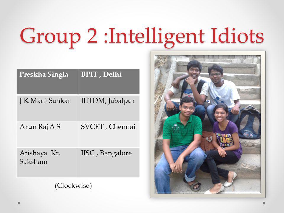 Group 2 :Intelligent Idiots Preskha SinglaBPIT, Delhi J K Mani SankarIIITDM, Jabalpur Arun Raj A SSVCET, Chennai Atishaya Kr.