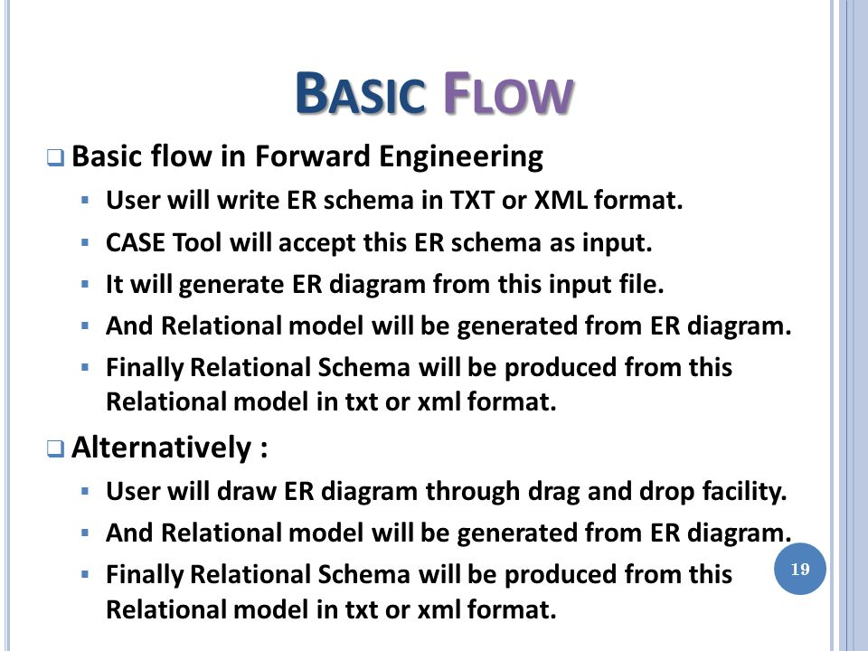 B ASIC F LOW  Basic flow in Forward Engineering  User will write ER schema in TXT or XML format.