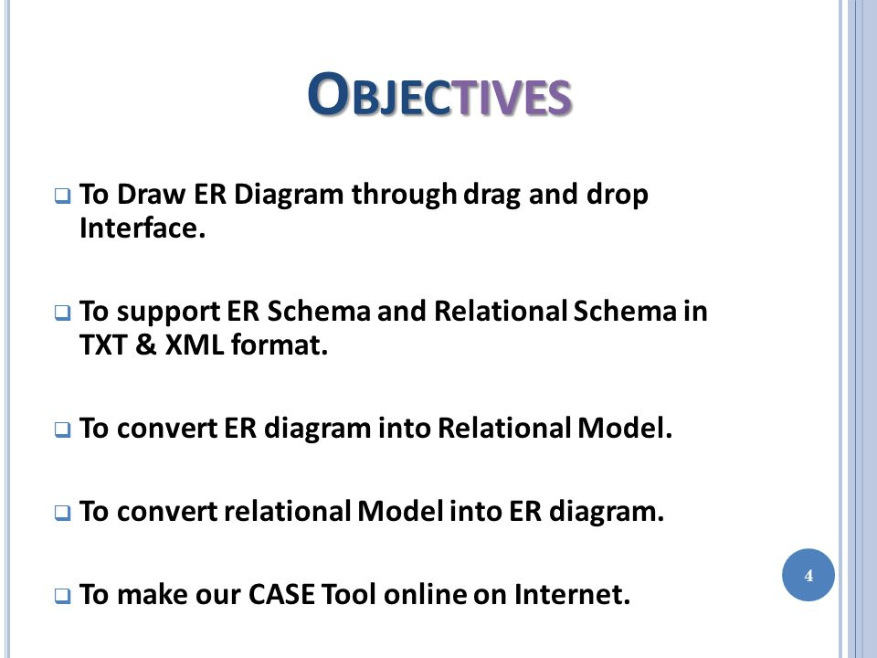 O BJECTIVES  To Draw ER Diagram through drag and drop Interface.