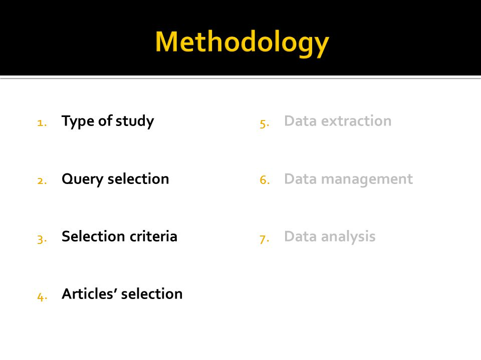 1. Type of study 2. Query selection 3. Selection criteria 4.