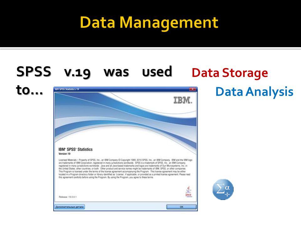 SPSS v.19 was used to… Data Analysis Data Storage