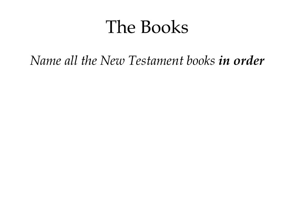 The Books Name all the New Testament books in order